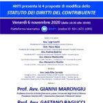"""ANTI – Associazione Nazionale Tributaristi Italiani presenta le 4 proposte di modifica dello """"Statuto dei diritti del contribuente"""" (piattaforma ZOOM, 6 novembre 2020)"""