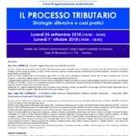 Corso di aggiornamento professionale – Il processo tributario: strategie difensive e casi pratici (Genova, 24 settembre e 1° ottobre 2018)