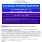 Corso di aggiornamento professionale – Il processo tributario telematico (Genova, 7 e 14 ottobre 2019)